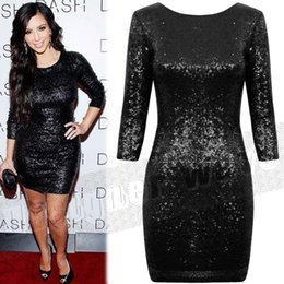 Robes bodycon kardashian en Ligne-Style Kim Kardashian Robe de paillettes brillant, S-XXL Taille Plus Sequined ouvert Sexy Bodycon Evening Party Club robe or noir rouge blanc