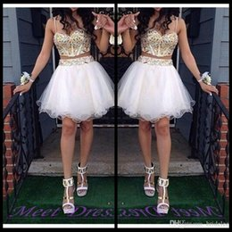 Wholesale Champagne Cocktail Dresses Sweetheart - Luxury 2 Piece Ball Gown Homecoming Dresses With Gold Beaded Straps Tulle White Short Prom Dress Sweet 16 Gown Cocktail Dress Online 2016