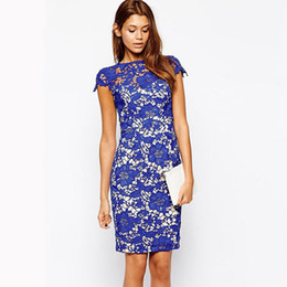 Bohemian 2016 Fashion Women Dress Blue Sexy Pencil Lace Overlay Vintage Patchwork Midi Dresses Summer vestidos femininos