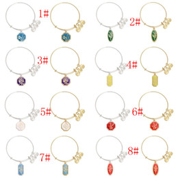 Wholesale Silver Gold Plated Alex And Ani Expandable Wire Bracelet narcissus lily of the valley violet flower pendant Charm Bangles