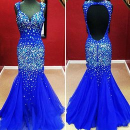 Royal Blue Sweetheart Straps Beads Mermaid Prom Dresses Charming Hollow Back Free Shiping Tulle Evening Gowns Cheap 2014 Real Images