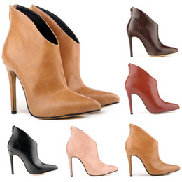 Autumn new models of high-end women's shoes high with boots single boots fine with Europe and pointed bare boot