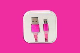 Descuento cargos cables iphone El color del caramelo de Micro USB Cable de Coloful plana fideos Fecha de sincronización de carga cable que destella para Samsung Todo el teléfono androide con el embalaje