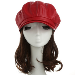 Wholesale-Women Winter Hats PU Leather Beret Hat Ladies Cap Casual Beret Cap New Fashion Beanie Hat Black Red Camel