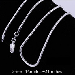 Wholesale Big Promotions Sterling Silver Smooth Snake Chain Necklace Lobster Clasps Chain Jewelry mm inch Mix Size Charm Necklace jewellery
