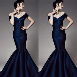 Wholesale Best Elegant Off Shoulder Mermaid Trumpet Corset Prom Evening Dresses Formal Gowns Zuhair Murad Backless Floor Length Taffeta Party Vestidos