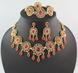 Joyería africana fija el oro 18k plateado los pendientes cristalinos del anillo de la pulsera del collar de la turquesa rojos y el negro elige 2 colores elige desde pendientes de turquesa juego de anillos fabricantes