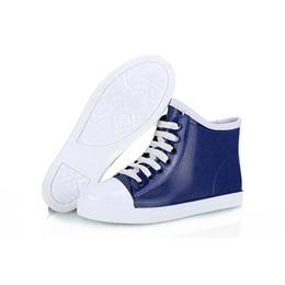 Compra Online Niñas de arranque blanco-Botas de lluvia de los cargadores del tobillo para la muchacha La manera blanca azul calza el talón plano de los rainboots del cordón del cortocircuito de la personalidad fresco
