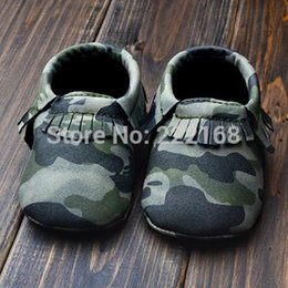 Wholesale-Fashion Sale Baby Moccasins Army Green Camouflage Handmade Baby Boy Girl Fringe Ankle Boots Toddler Shoes First Walkers