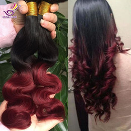 4pcs lot Ombre 100% Unprocessed Remy Human Hair Extensions Brazilian Virgin Hair Body Wave 1B Burgundy Two Tones Ombre Color Free shipping