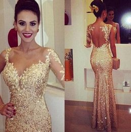 Wholesale 2015 applique pure gold equipment long sleeve mermaid sexy lace Prom Dresse celebrity Cheap party gowns open back gold foil dazzling beauty