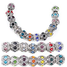 Wholesale Multi Crystal Antique Silver Plated x mm Spacer Charm Alloy Beads Fit Pandora European Bracelets