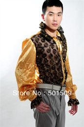 Wholesale-Free shipping fan collar prince stage sequins decoration mens tuxedo shirts party wedding shirts latin dance performance shirts