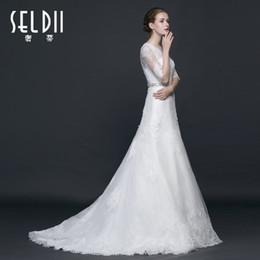 Romantic Long Sleeves long sleeves wedding dresses Appliqued Lace Bride Dresses Plus Size Button Back Vestido De Noiva Court Train christmas