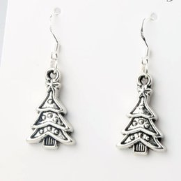 Wholesale 14 x40 mm Tibetan Silver Christmas Tree Triangular leaves Charm Pendant Earrings Silver Fish Ear Hook Jewelry E747