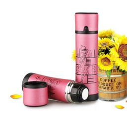 Wholesale Christmas shopping Pink Bike Bicycle Stainless Steel Water Bottle Vacuum Thermos Flask ml