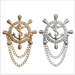 Wholesale New Journal Of Naval Air Rudder Anchor Chain High end Men s Brooch Crystal Rhinestone Brooch Gold Badge Lapel Pin Fine Jewelry lo