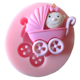 Wholesale 1Pcs Lovely Baby Fondant Mould Small Carts Shaped Baby Silicone Mold Cake Decorating Tools Soap Mold FM087