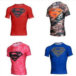 Wholesale Men Compression Armour Base Layer Short Sleeve Thermal Under Tee Shirts Tights Men Fitness Gym Sports Marvel Superman T shirt