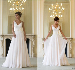 Wholesale Custom Flowing - Grecian Backless Beach Wedding Dresses V Neck Flowing Vintage Boho Bridal Dress A Line Vintage Greek Goddess Wedding Gown Summer Style 2016