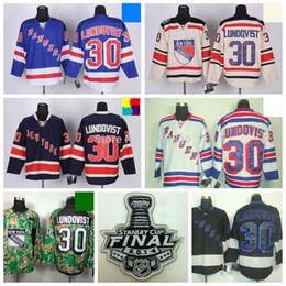 New York Rangers #30 Henrik Lundqvist Jersey 2014 Stanley Cup Home Blue Road White Alternate 85th Navy Blue Winter Cream Hockey