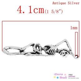 Wholesale Fashion Jewelry Pendants Charm Pendants Halloween Skull Skeleton Antique Silver x1 cm B31556 seasons skull bead skull lace