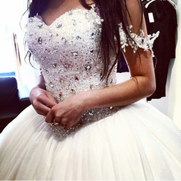 Charming Crystal Bead Sequins Off-Shoulder Ball Gown Wedding Dresses Puffy Plus Size Corset Bridal Gowns Exquisite Vestidos Chic Cheap