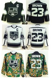 Factory Outlet, 2014 Stanley Cup Kids Los Angeles Kings Hockey Jerseys Dustin Brown Jersey #23 Black White Camo Youth Stitched Jerseys C Pat