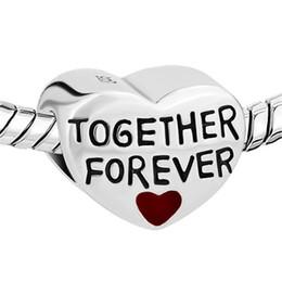 Rhodium Plating Heart Shape Together Forever Love bead European Charm Fit For Pandora Charm DIY Bracelet