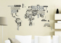 2015 fashion World map letters of an alphabet home 60*90cm Wall Sticker Home Decor Room children Kids
