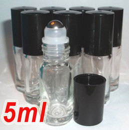 Wholesale DHL Free Shipping Mini Refillable 5ml 1 6oz MINI ROLL ON fragrance PERFUME GLASS BOTTLES ESSENTIAL OIL Steel Metal Roller ball