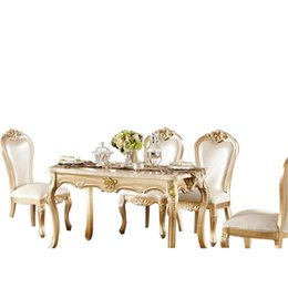 European Long Marble Dining Table new champagne gold wood Dinette combination (without chair)