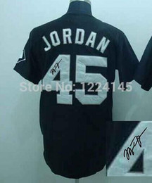 Wholesale 2016 New Men s Signed Jerseys Michael Jordan black Autographed Baseball Jerseys Stitched With Signature