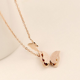 Chain Necklaces & Pendants 18K Rose Gold Plated Fashion Brand Crystal Party Wedding Jewelry For Women Butterfly Pendent