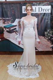 Wholesale lace vestido de festa robe de soiree new design Formal sexy long sleeve flowers party gown Celebrity Dresses