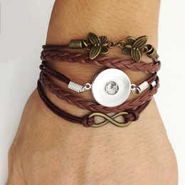Wholesale Infinity Bronze Butterfly snap leather bracelet styles choose friendship Noosa jewellry for gift customs diy making