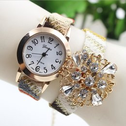 New Fashion PU Leather Watches Flower Bracelet Watches Wrist Watches Rainbow Stripes For Women Dress Gift