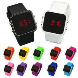 Wholesale Screen Color Squares - Fashion Sport LED Watches Candy Color Silicone Touch Screen Digital Watch Electronic Bracelet Watch mirror Makeup Rubber Watches For Women
