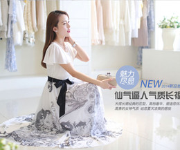 Wholesale Summer chiffon dress Chinese wind restoring ancient ways is big of blue and white porcelain skirt long beach dress female students of the dr