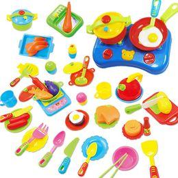 High Quality 60pcs Educational Pretend Kitchen Toy Kitchen Ware Set Plastic Dishes Children Gift Hot