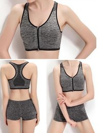 Wholesale 3pcs M XL new without rims shockproof zipper before ms sports bra vest non trace sports bra free shopping