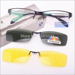 Wholesale-Wholesale Stainless Steel Glasses Frame + 2PCS Magnetic Polarized Sunglasses Clip UV400 Yellow Polarized Night Vision Eyeglasses
