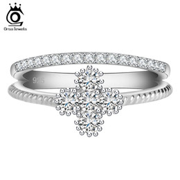 ORSA New Arrival Women Wedding Rings Platinum Plated Clear Zircon Sweet Flower Shape Ring for Ladies OR64