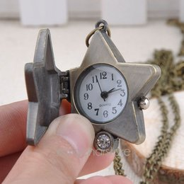 1 Piece Free Shipping Vintage Fashion Lucky Star Pocket Watch Bronze Chain Necklace Pocket Fob Watch Retro Clock Y60*MHM522#M5