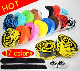 Wholesale 17 Colors Bicycle Handle Belt Road Bike Cycling Cork Camouflage Handlebar Tape Wrap with Bar Plugs bike tape