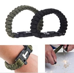 Wholesale New quot Survival Paracord Emergency Bracelet Rope with Flint Fire Starter Scraper Whistle Gear Kit Outdoor Camping Green Black