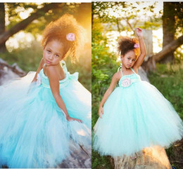 2015 Latest Style Exquisite Halter Mint Green Flower Girl Dresses Tutu Dresses with Flower Sash Beautiful Little Kids Birthday Party Dresses
