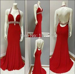 Sexy Long Mermaid Evening Dresses 2016 Sweetheart Crystal Beaded Floor Length Chiffon Backless Red Prom Dress Evening