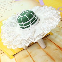 Wholesale-Vogue Flower Floral Bouquet Foam Handle Holder With Lace Collar Wedding Decor Home DIY #70970