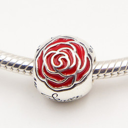 925 Sterling Silver Belles Enchanted Rose Charm Bead with Red Enamel Fits European Pandora Jewelry Bracelets & Necklaces